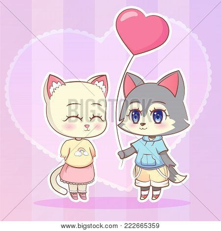 Sweet Little Cute Kawaii Anime Cartoon Puppy Wolf Dog Puppy Boy And Cat, Kitten Girl With Pink Ballo