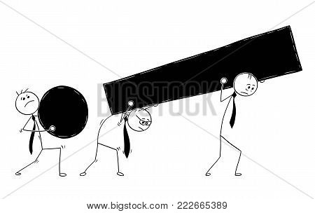 Cartoon stick man drawing conceptual illustration of three business businessmen carry large exclamation mark symbol.