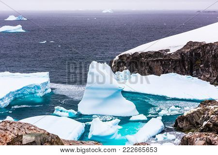 Cold still waters of antarctic sea lagoon with drifting blue icebergs among rocky cliffs of Peterman island, Antarctica