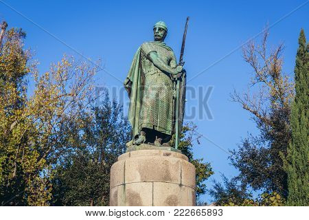 Statue of first king of Portugal - Afonso I the Great in historical part of Guimaraes city, Norte region of Portugal