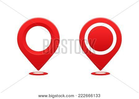Icons location pointer. Pointer pin marker for travel place vector illustration. GPS navigation.