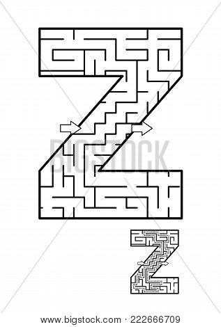 Alphabet  learning fun and educational activity for kids - letter Z maze game. Answer included.