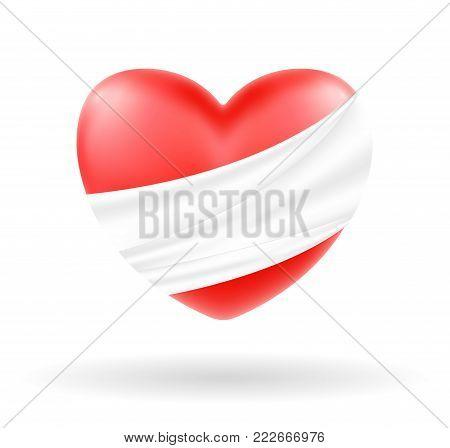 hurt heart with white bandage on white background