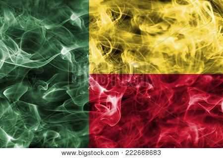 Benin smoke flag isolated on a black background