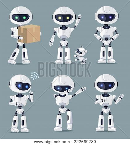 Set of cute white ai machines vector illustration with six robots standing and speaking, carrying box, playing with puppy isolated on grey background