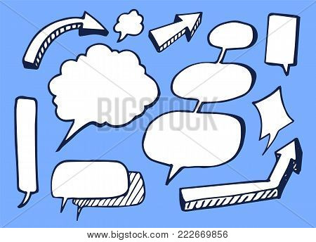 Set of nice white stickers vector illustration with bright striped pointers, different oval and cloudy message boxes isolated on bright blue backdrop