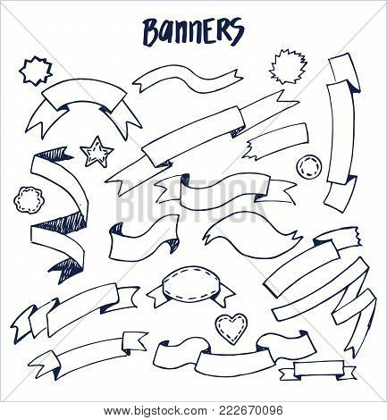 Banners ink pen sketches of blue color, hand drawn elements of circular and rectangular geometric forms, vector ribbons on checkered sheet of paper