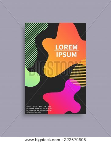 Banner with abstract background vector poster with splashes, dotted structure elements, sample text and colorful patterns isolated on black backdrop