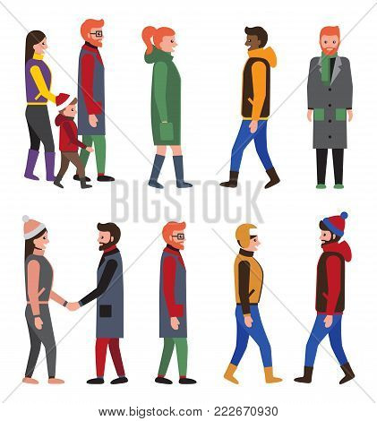 Collection of people in modern winter apparels, citizens in jackets, long coats, cute hats, women, men and child vector characters isolated on white