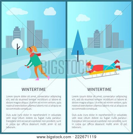 Wintertime activities, woman in earphones makes snowman, child riding downhill on sleigh vector poster on cityscape background with skyscrapers