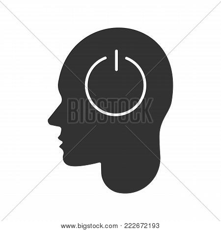Human head with power button inside glyph icon. Brain turning off. Silhouette symbol. Artificial intelligence. Negative space. Vector isolated illustration