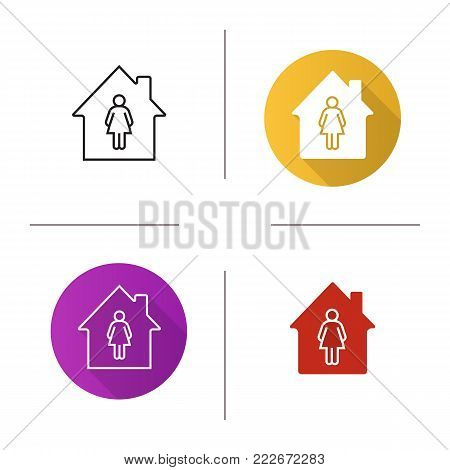 Resident, tenant, owner icon. Flat design, linear and glyph color styles. House with woman silhouette inside. Isolated vector illustrations