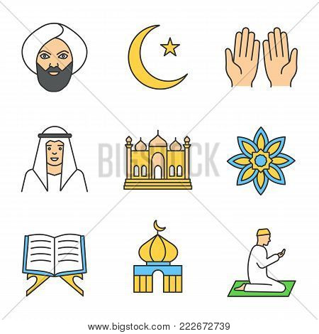 Islamic culture color icons set. Muslim man, ramadan moon, islamic prayer, mosque, quran book, muslim star. Isolated vector illustrations
