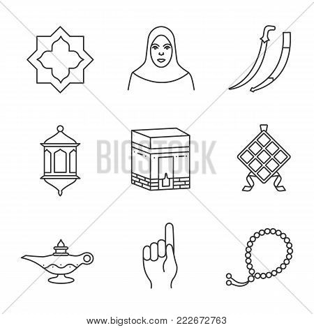 Islamic culture linear icons set. Islamic star, muslim woman, scimitar sword, lantern, kaaba, ketupat, oil lamp, god gesture, misbaha. Thin line contour symbols. Isolated vector outline illustrations