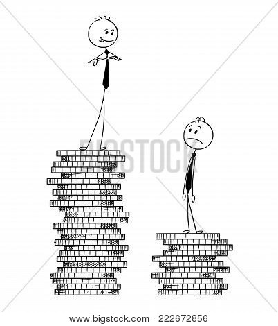 Cartoon stick man drawing conceptual illustration of two businessmen standing on coin piles, one higher, one lower. Concept of business success and competition.
