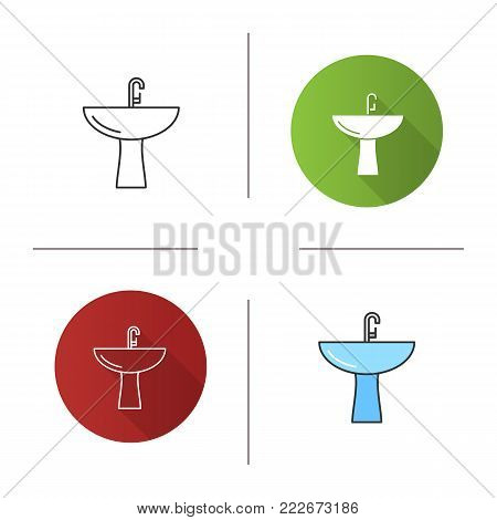 Wash basin icon. Flat design, linear and color styles. Bathroom sink. Washstand. Isolated vector illustrations