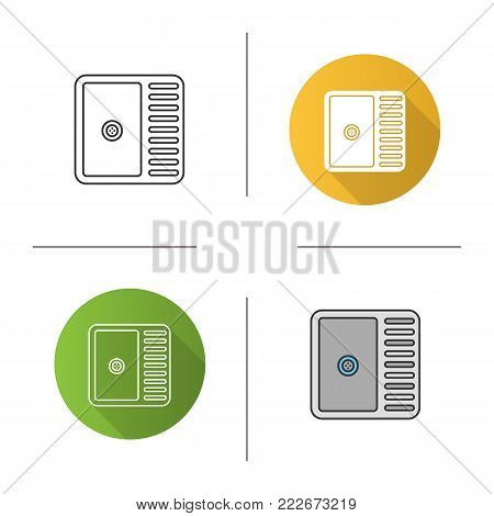 Kitchen sink icon. Flat design, linear and color styles. Wash basin. Isolated vector illustrations