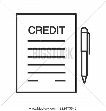 Credit agreement, contract linear icon. Contract. Thin line illustration. Mortgage, loan document paper with pen. Contour symbol. Vector isolated outline drawing