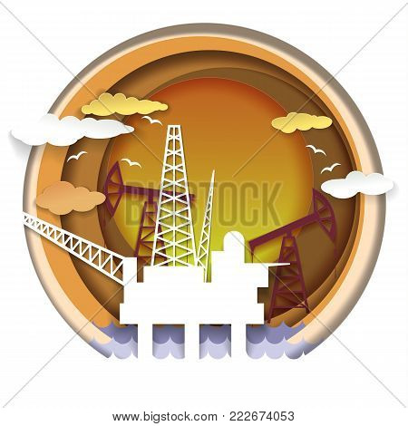 Oil extraction concept vector illustration in paper art style. Oil industry template with drilling rigs, oil pumps.