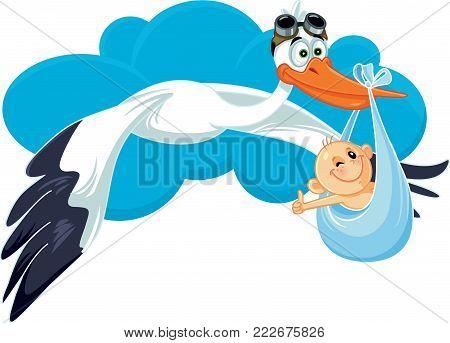 Stork with Baby Invitation Card Vector Cartoon Pregnancy Announcement Illustration