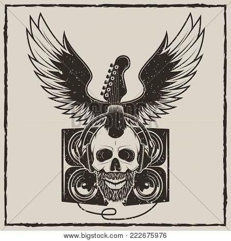 Rock Star vintage grunge design for t-shirt. Vector hand drawn illustration of guitar, speakers, spread wings and punk skull in headphones listening to music.