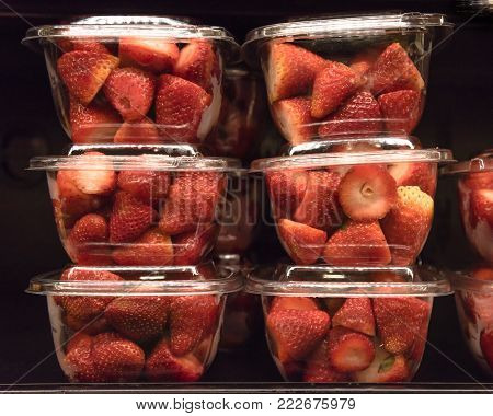 Healthy Take Away Chopped Fruits At Grocery Store In America