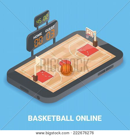 Basketball online concept vector illustration. Isometric basketball field, ball and indicator board placed on smartphone screen.
