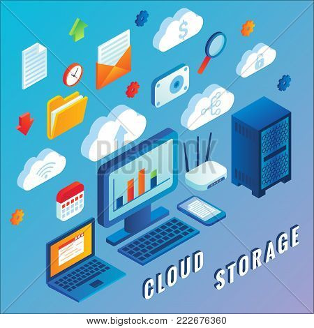 Cloud storage vector flat 3d isometric illustration of network servers, internet router, laptop, mobile phone etc.