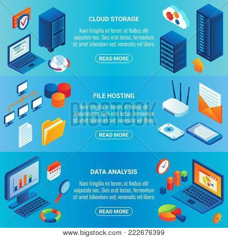 Data storage concept vector isometric horizontal banner set with cloud storage, file hosting and data analysis design elements.