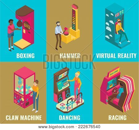 Amusement arcade game machine icon set. Vector 3d isometric illustration of boxing, hammer, virtual reality, claw machine, racing, dancing machines. Game club attractions concept design elements.