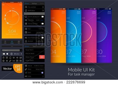 Colorful mobile task manager ui design kit flat vector illustration