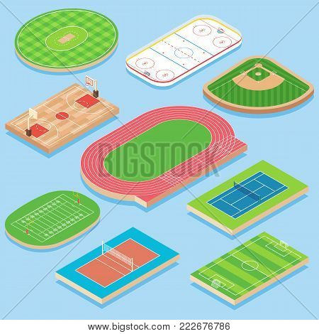 Sport field vector flat isometric icon set. Cricket, basketball, hockey, baseball, athletics, tennis, volleyball, soccer and football fields or courts. Outdoor playing areas for various sports.