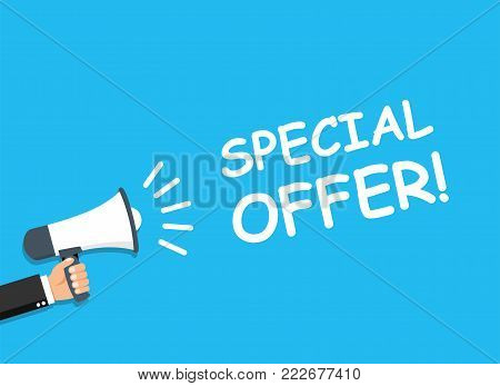 Hand holding Megaphone. Announcement. SPECIAL OFFER! - stock vector.