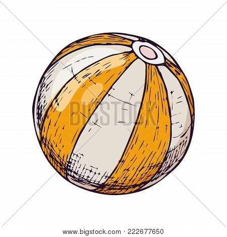 Beach ball on white background, cartoon illustration of beach accessories for summer holidays. Vector