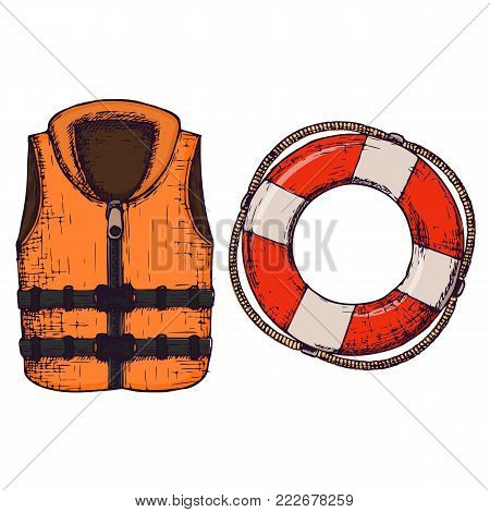 Life jacket and life buoy on white background, cartoon illustration of beach accessories for summer holidays. Vector