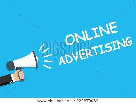 Hand holding Megaphone. Announcement. ONLINE ADVERTISING - stock vector.