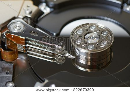 Internals of SATA hard disk drive, shallow depth of field