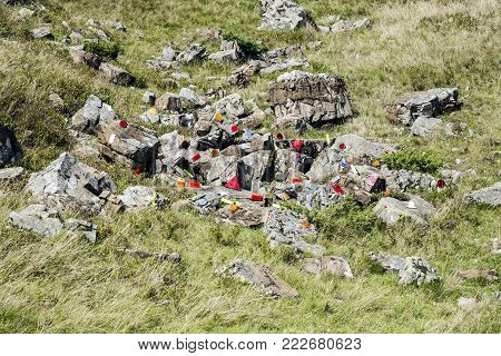 Cataphotes Of Different Shapes And Sizes Are Glued On Stones In The Carpathian Mountains (ukraine, C