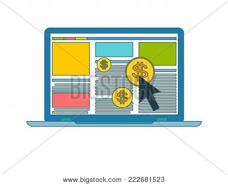 Pay per click or PPC vector icon in flat style. concept of online or internet advertising. Online ads symbo