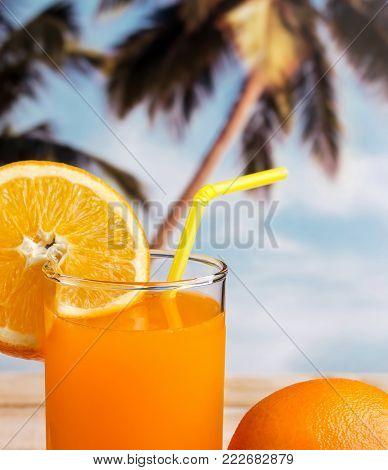 Squeezed Orange Juice Shows Citrus Fruit And Beverage
