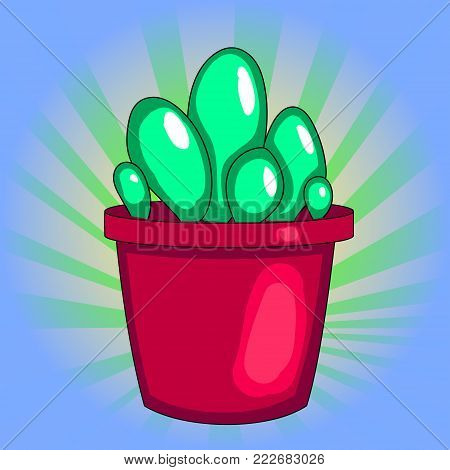 pop art Houseplant, cactus in a pot. Vector on white background