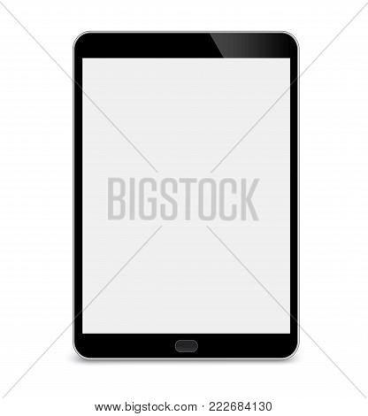 Realistic Tablet PC With Blank Screen. Black. Isolated On White Background. - stock vector