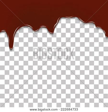 Melted chocolate dripping on transparent background. Realistic vector background.
