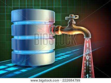 Stealing sensitive info from a database. 3D illustration.
