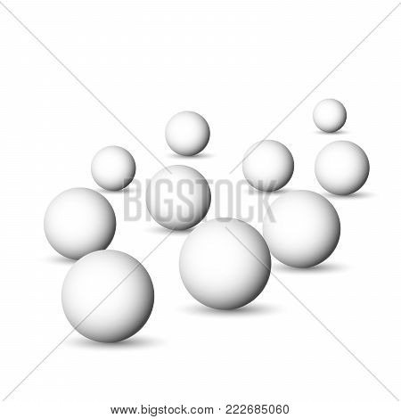Group of white spheres, balls or orbs. 3D vector objects with dropped shadow on white background.