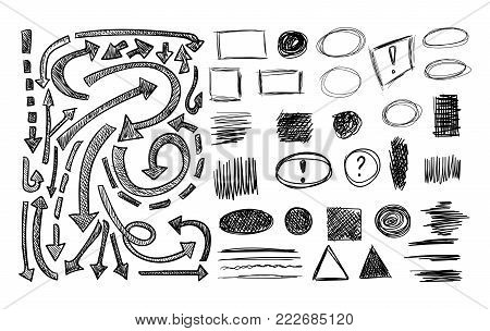 VECTOR collection of sketched elements and different scribble arrows, shaded arrow, circle, drawn square frames, undeline strokes, sketchbook drawings set.