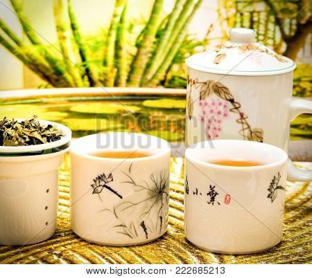 Green Tea Cups Indicates Break Time And Cafe