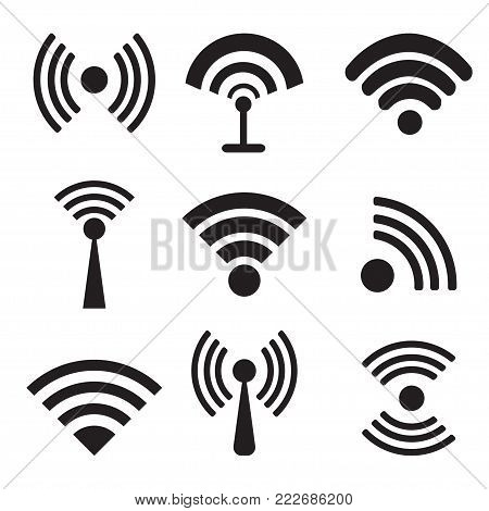 different black vector wireless and wifi icons.