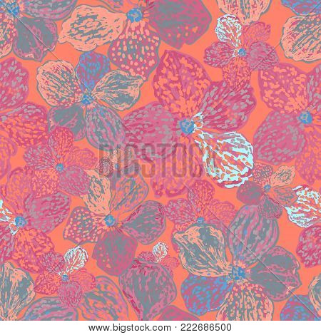 Vector colorful floral background. Seamless pattern with flowers. Can be used for wallpaper, pattern fills, web page background, surface textures, textile print.