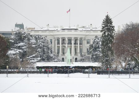 White House in winter - Washington DC United States